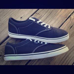 Vans size 6 lo profile tie shoes navy blue EUC